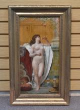 19thC OIL ON PANEL OF FEMALE NUDE SIGNED