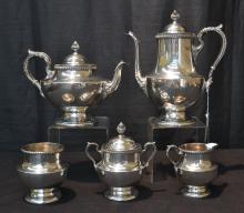 (5)pc POOLE STERLING SILVER TEA SERVICE CONSISTING