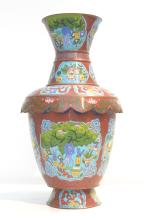 LARGE ANTIQUE SIGNED CLOISONNE VASE WITH