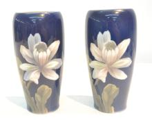 (Pr) ROYAL COPENHAGEN FLORAL DECORATED VASES