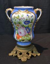 19thC HAND PAINTED OLD PARIS TWIN HANDLE VASE