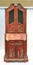 CHINOISERIE DECORATED 2-PART SECRETARY WITH