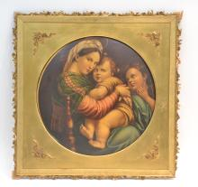 RELIGOUS PAINTING ON TIN OF MADONNA & CHILD IN