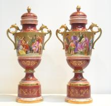 (Pr) 19thC HAND PAINTED ROYAL VIENNA COVERED URNS