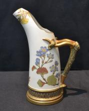 ROYAL WORCESTER EWER WITH BAMBOO FORM HANDLE