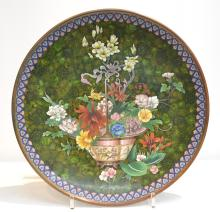 LARGE CLOISONNE CHARGER WITH BASKET OF FLOWERS