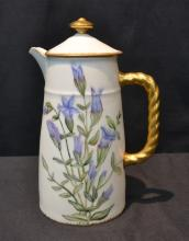 HAND PAINTED LIMOGES CHOCOLATE POT ; DATED 1891