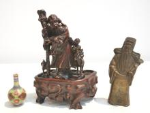 ORIENTAL LOT CONSISTING OF WOOD CARVING , BRONZE