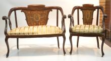 FLORAL INLAID MAHOGANY SETTEE & MATCHING CHAIR