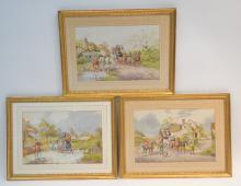 (3) HENRY MURRAY SPORTING WATERCOLORS OF