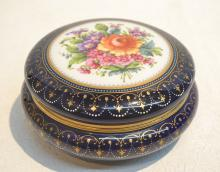 HAND PAINTED ROYAL VIENNA COVERED BOX WITH