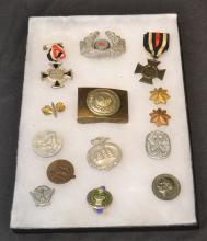 LOT OF GERMAN MEDALS , BUCKLE & PINS