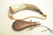 REPLICA CIVIL WAR POWDER FLASK & POWDER HORN ;