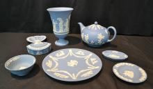 (8)pc's OF WEDGWOOD INCLUDING TEA POT , PLATE,