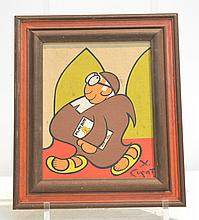 XAVIER CUGAT COMICAL PAINTING OF A MONK
