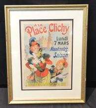 FRENCH A LA PLACE CLICHY FRAMED POSTER PRINT