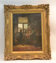 19thC OIL ON CANVAS DEPICTING GRANDMOTHER &