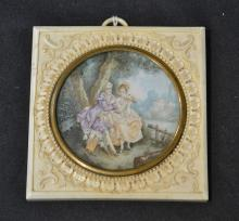 HAND PAINTED COURTING SCENE MINIATURE ;