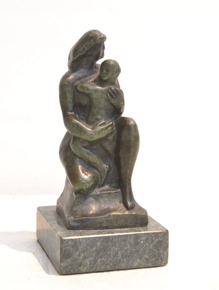 BRONZE FIGURE OF NUDE WITH CHILD - 7 1/2