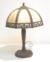 8-PANEL ; 2-TONE SLAG GLASS LAMP BY ROYAL ART