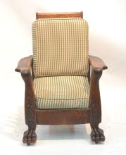CARVED OAK MORRIS CHAIR WITH CLAW FEET &