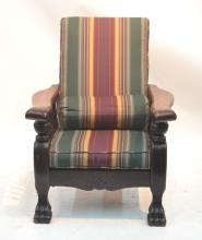 CARVED OAK MORRIS CHAIR WITH BURGANDY &