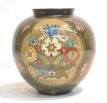 ROYAL BONN VASE WITH BASKET OF FLOWERS MEDALLION