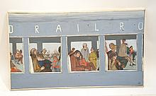 OIL ON CANVAS VIEW OF PEOPLE INSIDE RAILROAD CAR