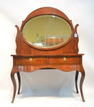 MARQUETRY INLAID VANITY WITH SWIVEL MIRROR