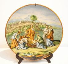 19thC MAJOLICA BIBLICAL CHARGER DEPICTING THE