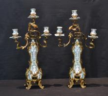 FRENCH STYLE PORCELAIN & FLORAL BRONZE CANDELABRA