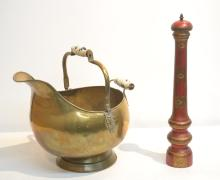 BRASS COAL SCOOP WITH DELFT SYLE HANDLE &