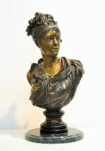 COLD PAINTED BRONZE BUST OF SEMI NUDE WOMAN