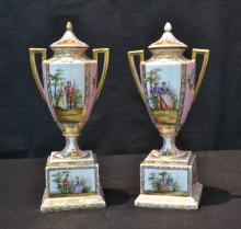 (Pr) ROYAL VIENNA STYLE TWIN HANDLE COVERED URNS