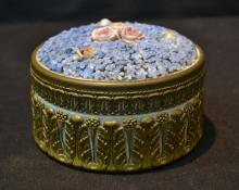 GERMAN HAND PAINTED COVERED BOX WITH RAISED