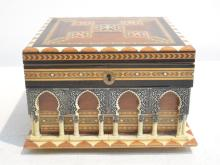 INLAID ARCHITECTURAL FORM MUSIC BOX
