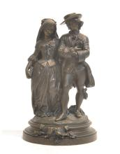 FRENCH BRONZE DOUBLE FIGURE OF VICTORIAN COUPLE