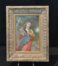 HAND PAINTED KPM PORCELAIN PLAQUE DEPICTING