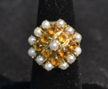 14kt PEARL & CITRINE RING - SIZE 6