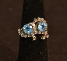 14kt DIAMOND & AQUA RING - SIZE 5