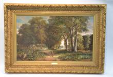 OIL ON CANVAS OF FIGURES IN WOODED PARK