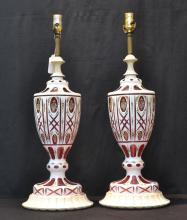 (Pr) LARGE CRANBERRY & WHITE BOHEMIAN LAMPS