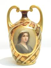 HAND PAINTED ROYAL VIENNA TWIN HANDLE PORTRAIT