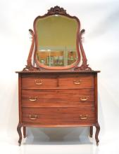 MAHOGANY DRESSER WITH CHEVALL MIRROR