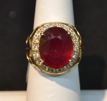 14kt YELLOW GOLD OVAL DIAMOND & RUBY RING