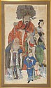 FRAMED PAINTING ON PAPER Depicting Immortals wearing colorful costumes. Mat opening, 66
