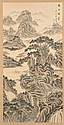 SCROLL PAINTING ON SILK Mountain landscape with boating on river. Inscription and seal marked. 45½