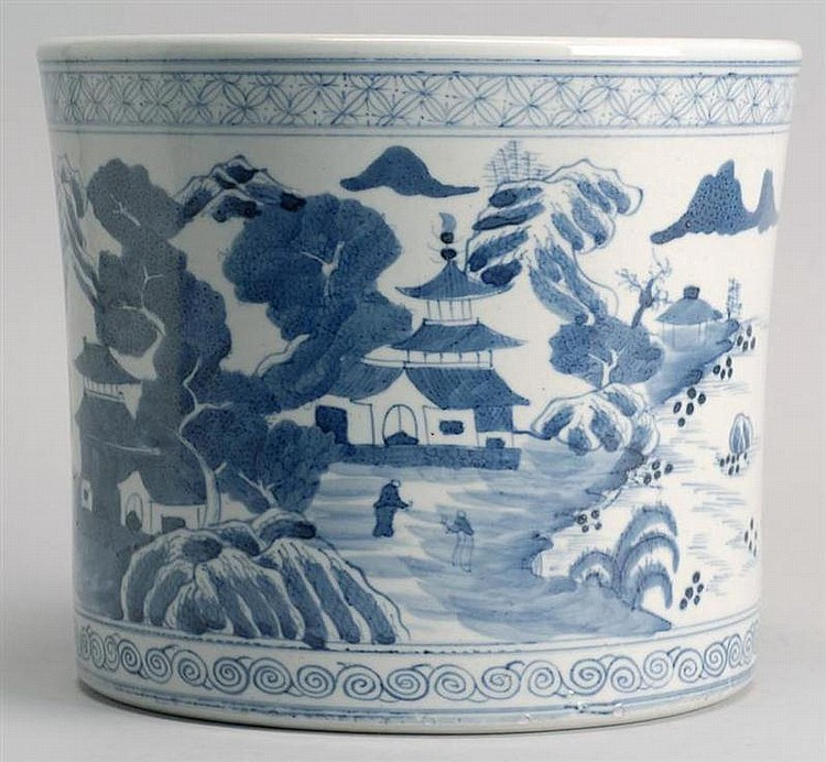 BLUE AND WHITE PORCELAIN BRUSH POT In cylinder form with figural landscape design. Height 6½