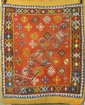 ORIENTAL RUG: TURKISH Floral elements on a red field.