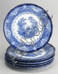 SET OF EIGHT LATE 19TH CENTURY DOULTON FLOW BLUE TRANSFER PLATES in the